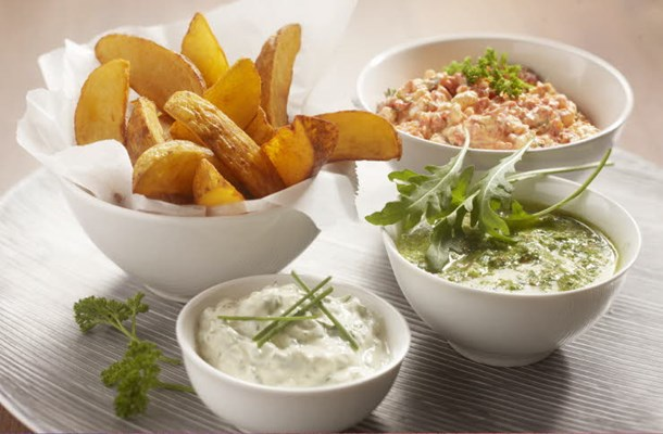 Potato wedges with rocket pesto, Feta cheese dip & herb dip